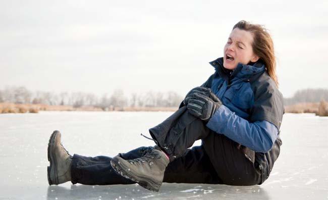 Риск получить травму в гололёд