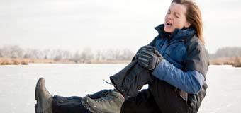 Риск получения травмы во время снегопада и ледяного дождя