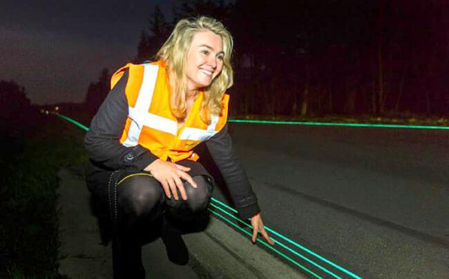 использование светоотражающей краски на дорожной разметке